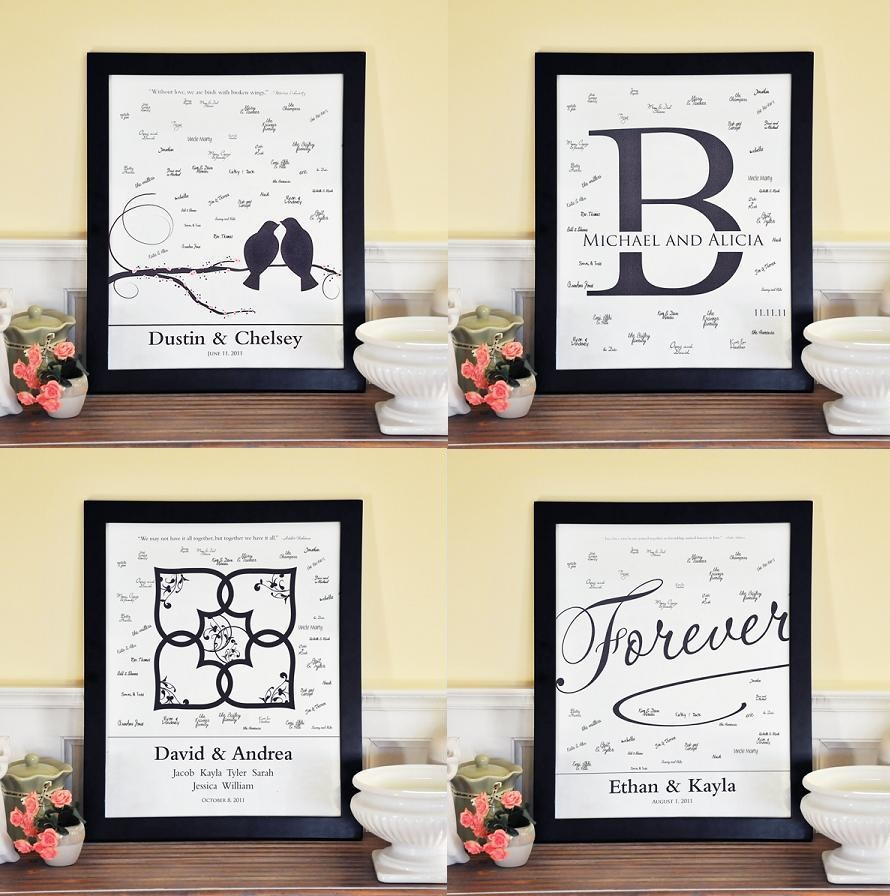 Personalized Wedding Canvas: Personalized Wedding Guest Book Signature Canvas Frame