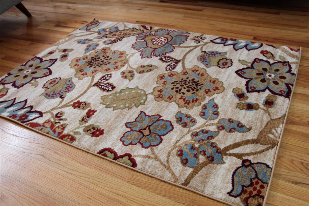1023 Ivory Burgundy Beige Rust Area Rugs Floral Carpet 2x3