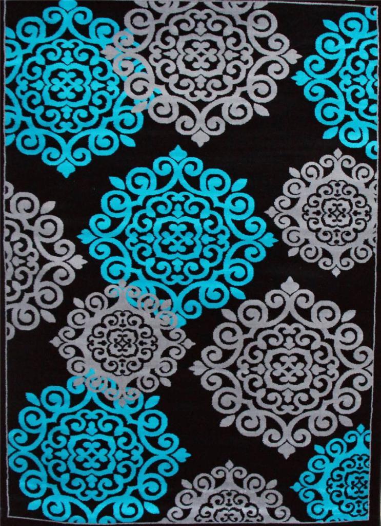 776 Turquoise Gray Black 5x7 8x10 Area Rugs Carpet