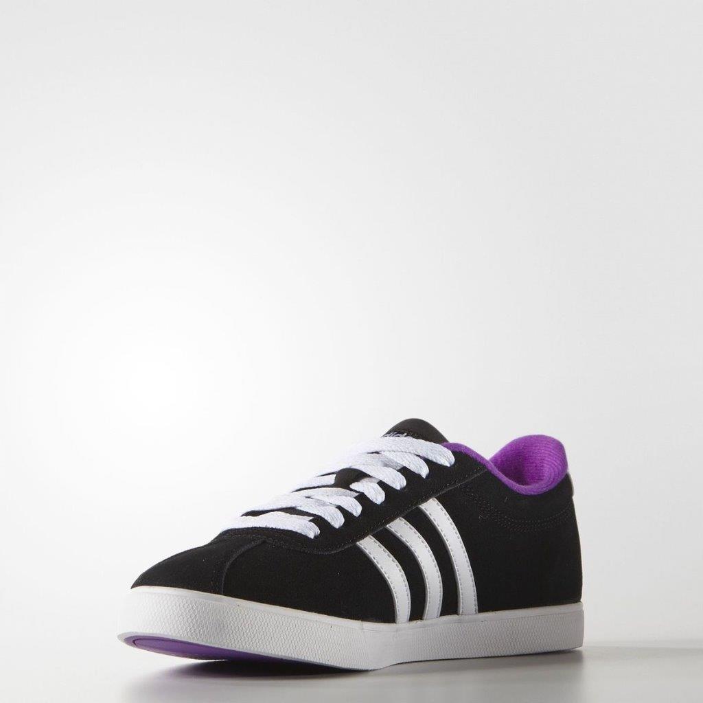 Zapatillas Adidas Mujer Neo courtset Zapatillas dos cordones negro púrpura AW5001 Nuevo