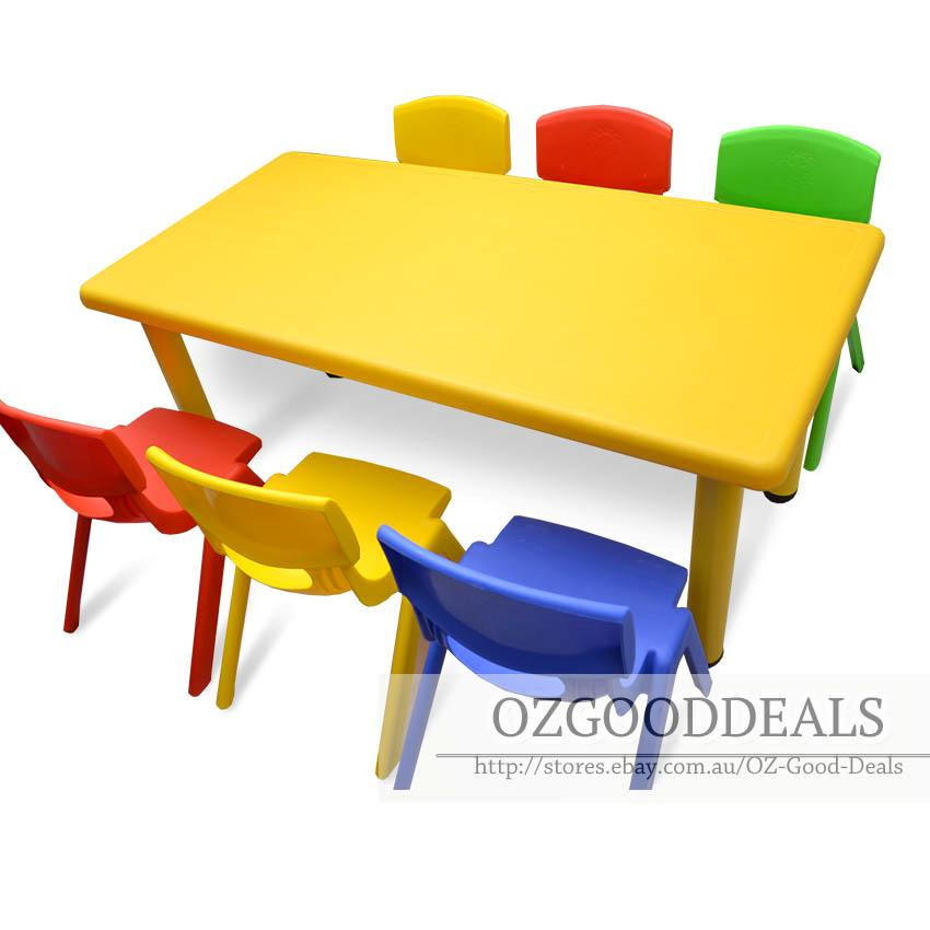 Large kids toddler children activity table and 6 chair for Oversized kids chair