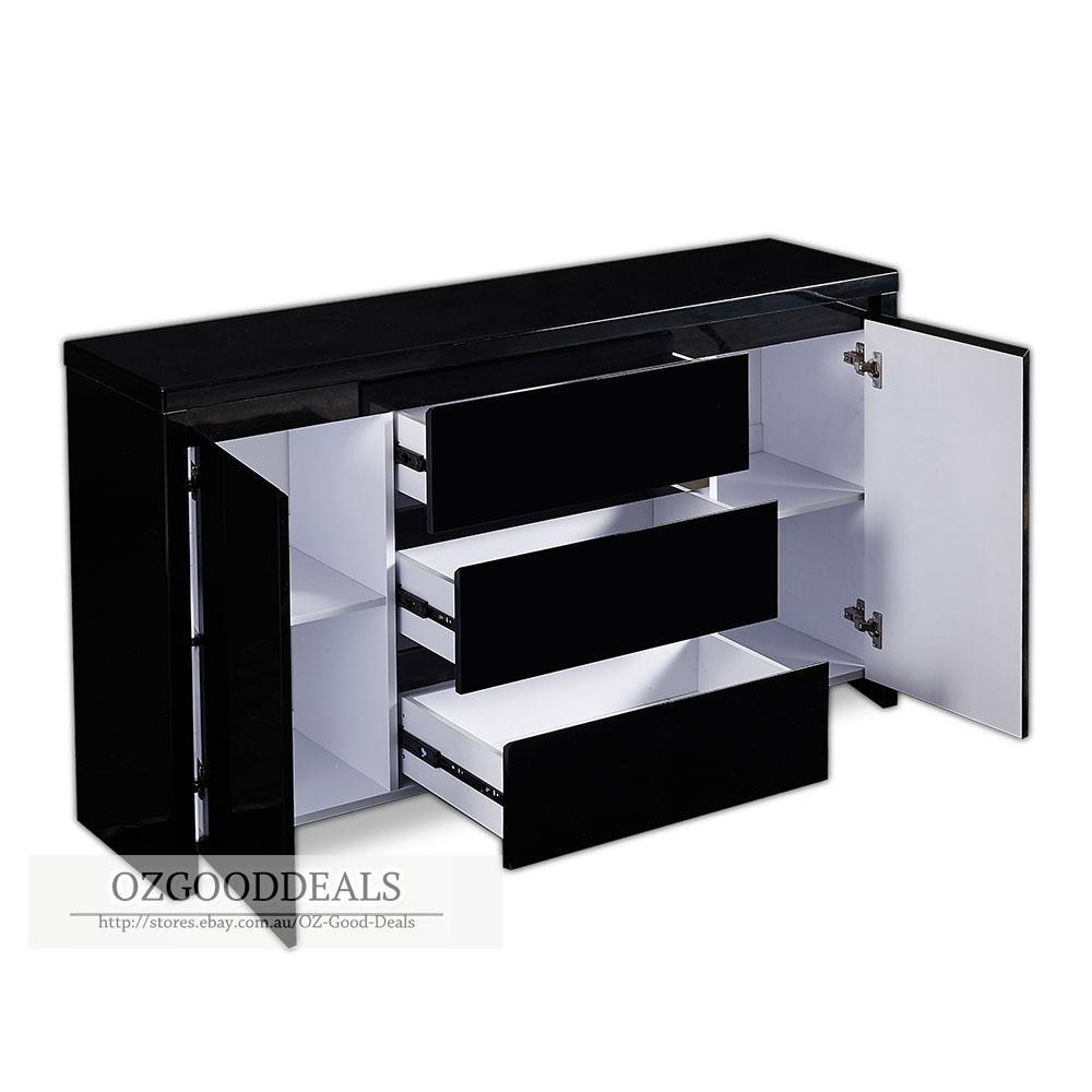 tina designer buffet sideboard cabinet gloss black finish 4037bk 2 door 3 drawer ebay