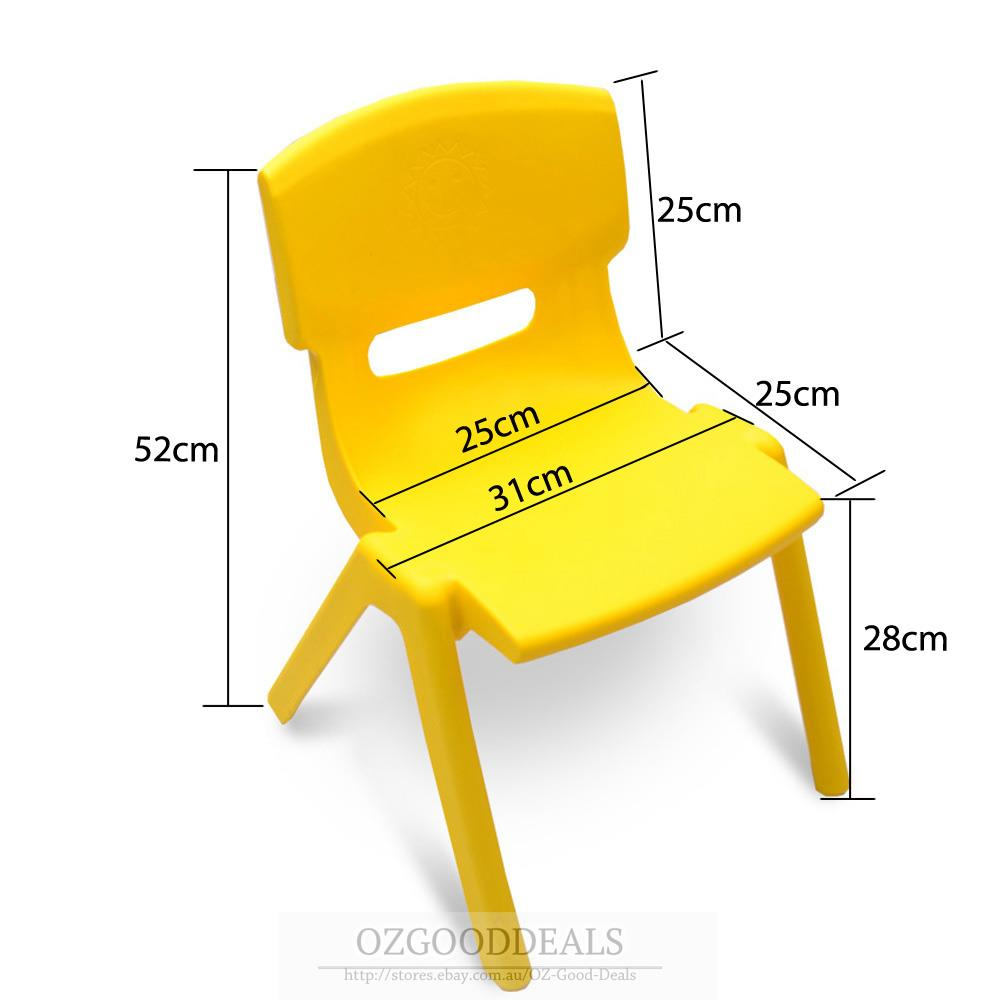 Set Of 4 Brand New Kids Toddler Plastic Chair Yellow Blue