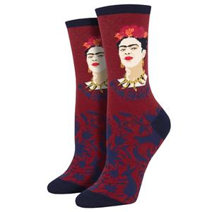 Socksmith Women/'s Crew Socks Viva La Frida Kahlo Portrait Blue Novelty Footwear