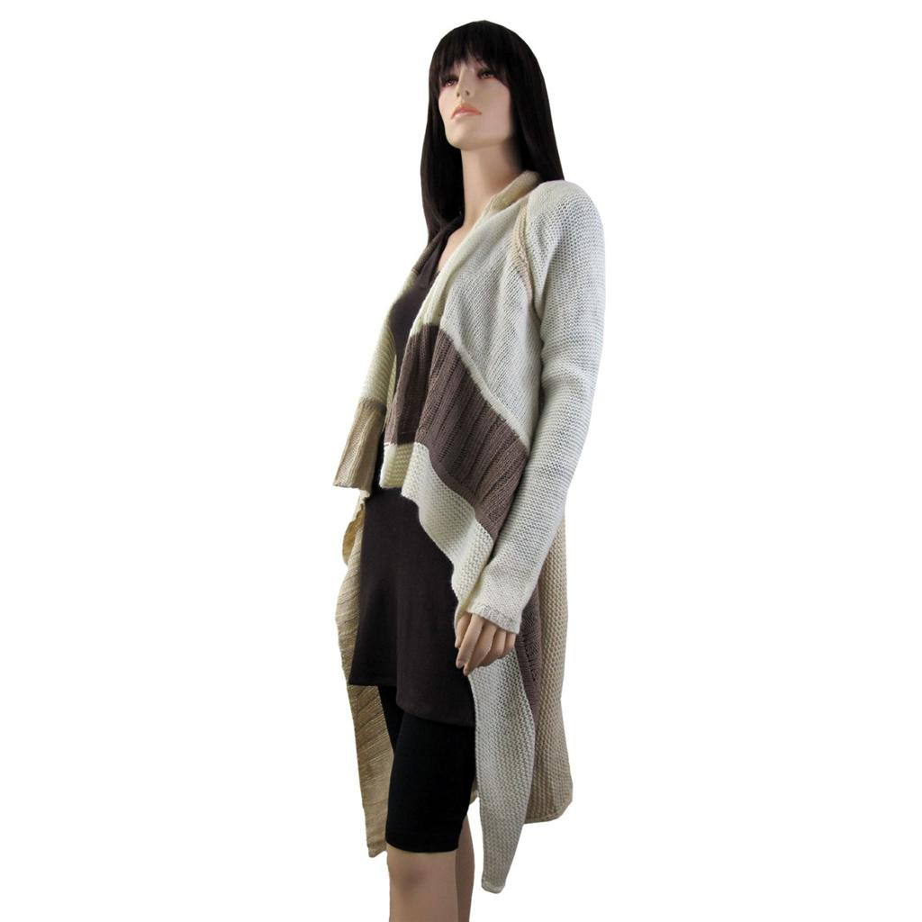 Long Cardigan Open Knit Sweater Jacket Coat Off White Tan ...
