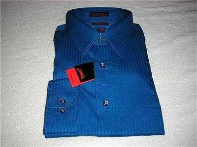 New J.Garcia Mens Classic-Fit Wrinkle-Free Tonal Stripe Point-Collar Dress Shirt