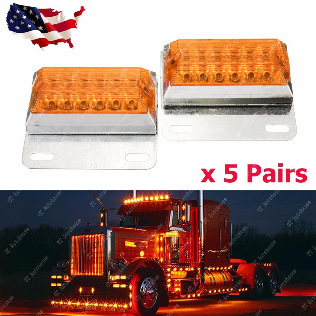Commercial Vehicle Lighting: 10pcs Amber 12-LED Side Marker Light 12V 24V Commercial