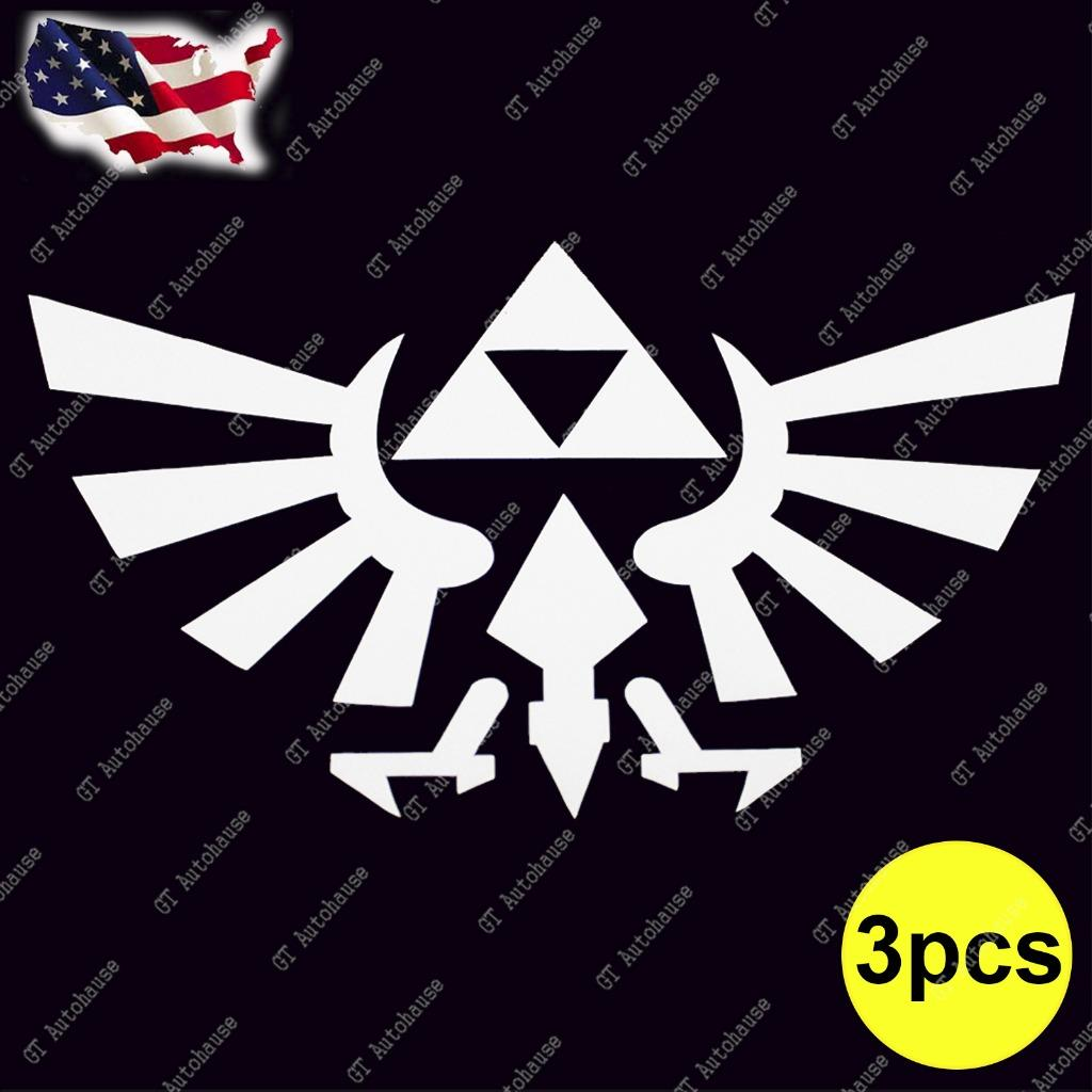3x legend of zelda triforce symbol for car bumper truck laptop sticker decal ebay. Black Bedroom Furniture Sets. Home Design Ideas