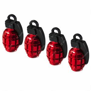 Tire Wheel Valve Stem Caps Set Red Metal Grenade Bomb Air