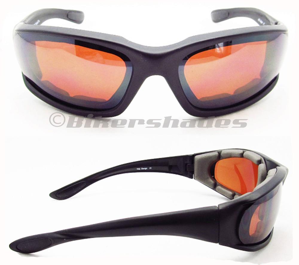 Hd Vision Motorcycle Sun Glasses Foam Cushion Blue Blocker