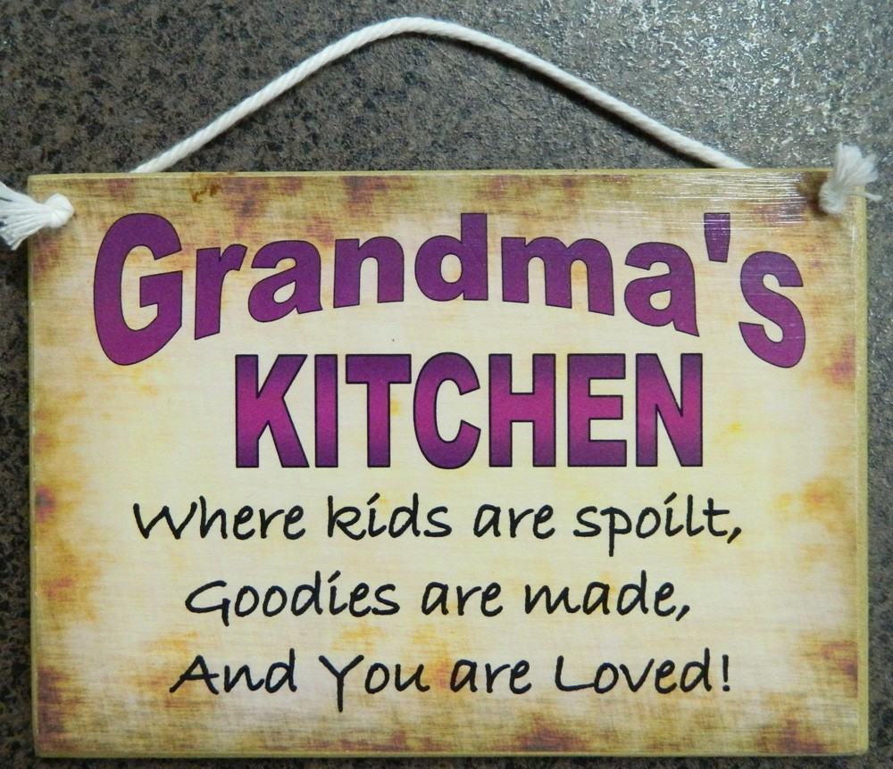 Humorous Kitchen Signs: Country Printed Quality Wooden Sign Hanger Grandma's
