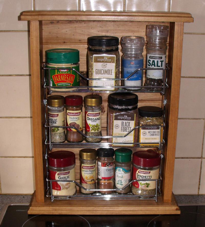 French Country Vintage Inspired Timber Wooden Spice Rack