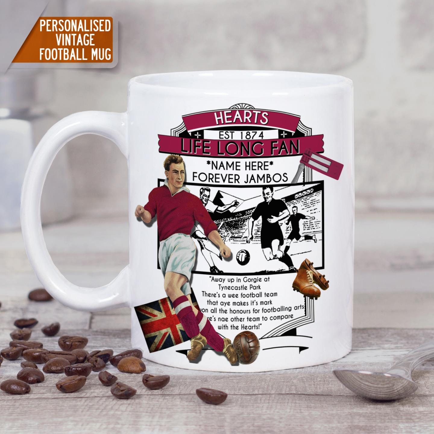 Personalised Mug Heart Midlothian Football Vintage Retro Christmas ...