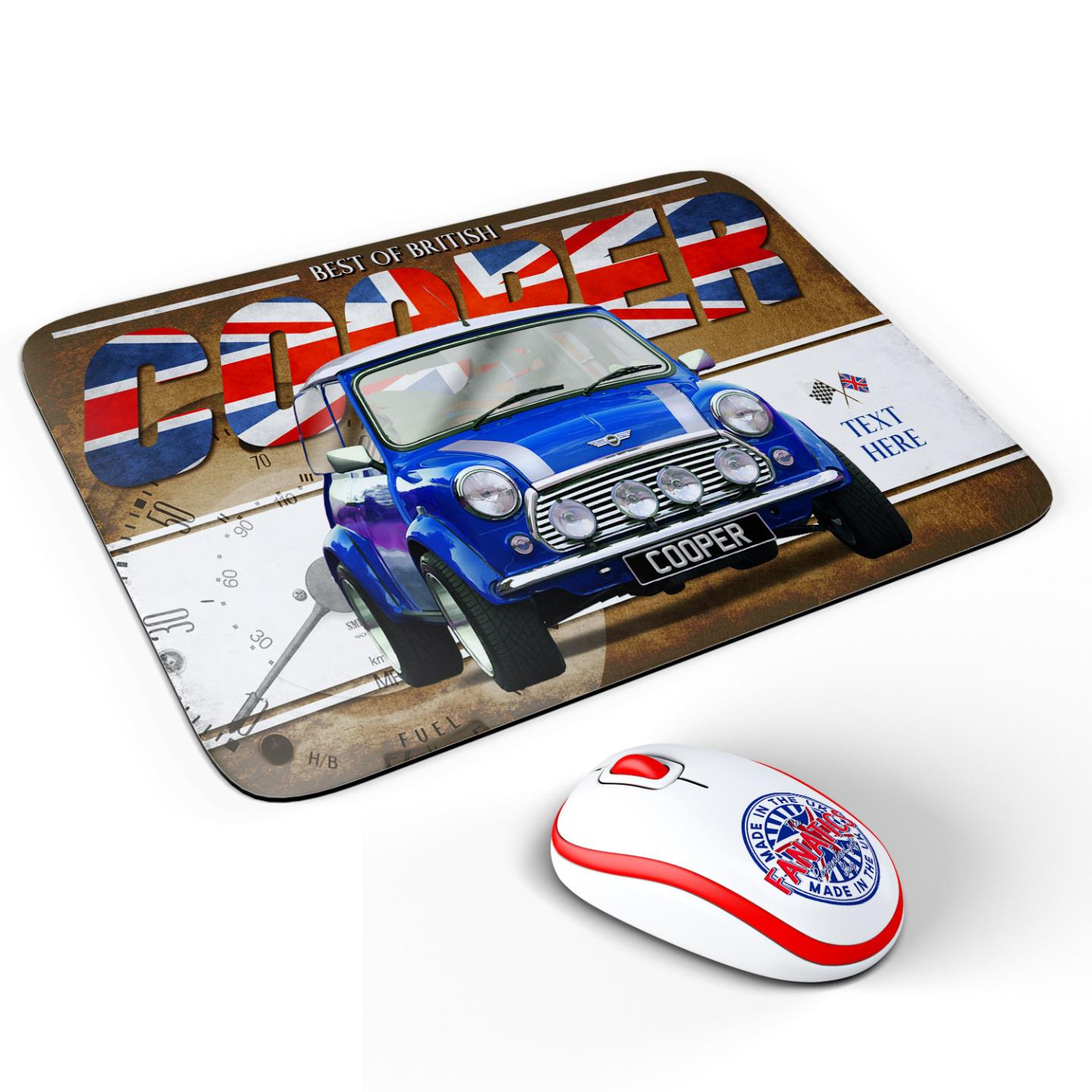 Personalised Mini Cooper Blue Classic Car Mouse Mat Pad Computer Dad Gift CL34
