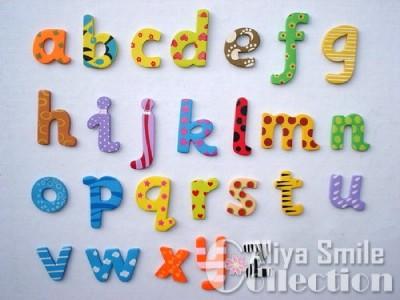 26PCS Wood Alphabet Lowercase Letter A Z Fridge Magnets