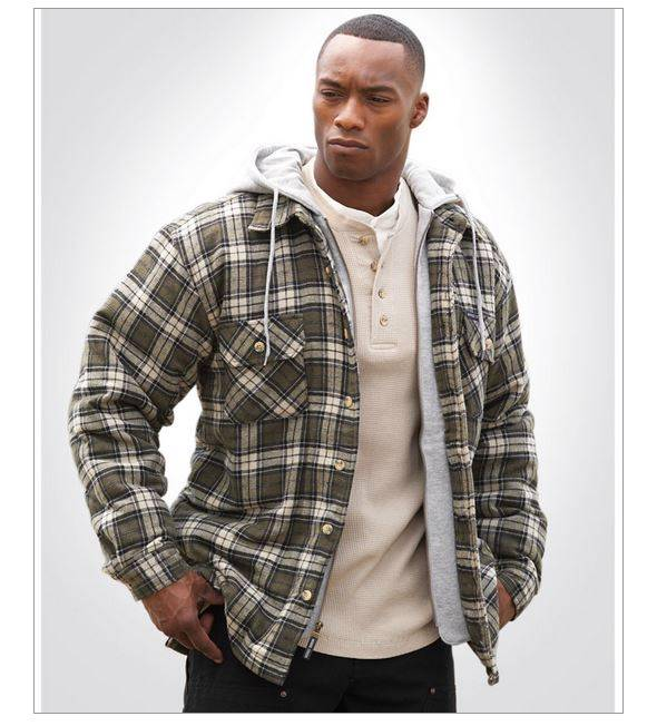 New Men S Moose Creek Hooded Flannel Quilted Lined Utility