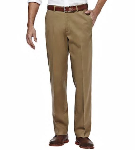 New Mens Haggar H26 Pants Straight Fit With Stretch Khaki Choose Size