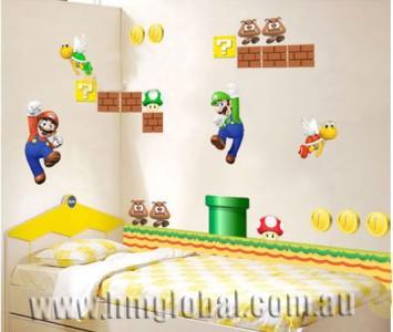 New Super Mario Bros Kids Removable Wall Sticker, total 27 stickers in