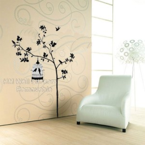 Tree Birds Cage Wall Art Removable Wall Decal Sticker