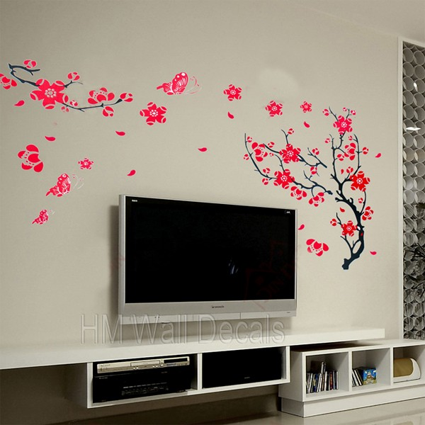 BUTTERFLIES & CHERRY BLOSSOM Removable Wall Decal for any living space  decor | eBay