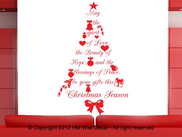 Merry Christmas Quote Wall Art Decal: Christmas Tree With Wish Quote Wall Art Decal, Great Gift
