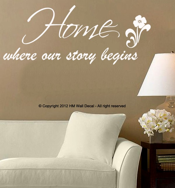"""Home Staging Quotes: """"Home Where Our Story Begins """" Inspirational Quote Wall"""