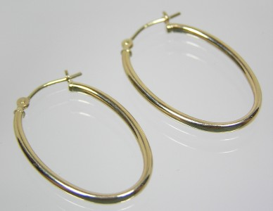 Eternagold 14k Hoop Earrings 1 Quot Oval Polished Yellow Gold