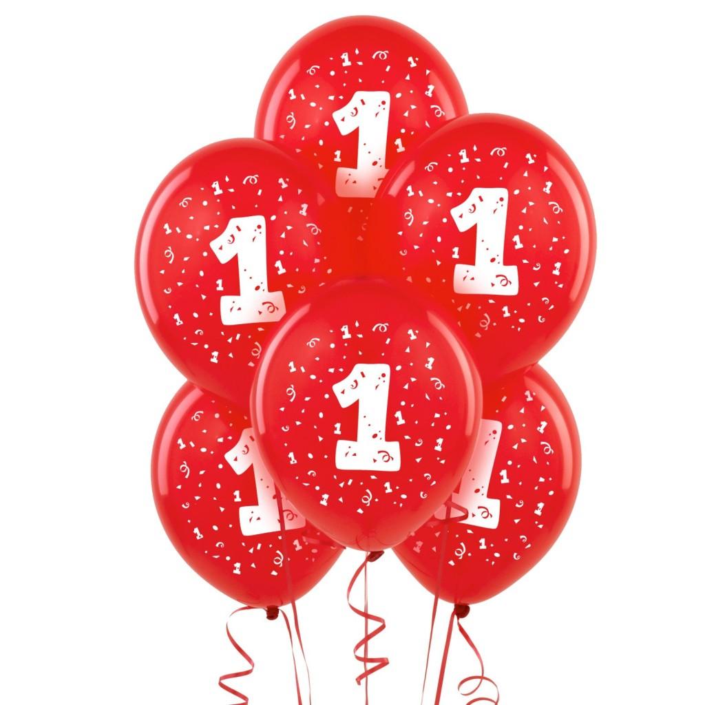 1st Birthday Red Latex Balloons (12pk) BONUS Ribbon
