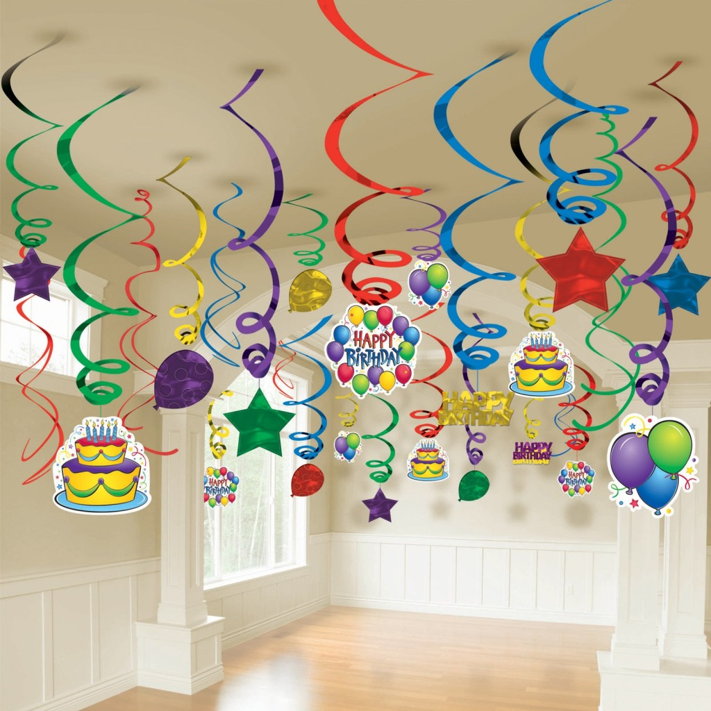 Mega Value 50 Pack Happy Birthday Swirl Room Decoration