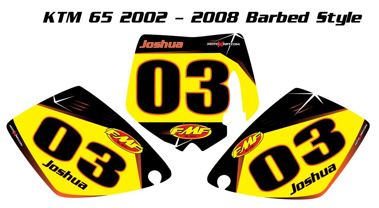 Custom Number Plate Graphics for KTM 65 02 08 Barbed on