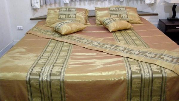 thai silk king size bedding set duvet quilt cover bedspread bed runner gold ebay. Black Bedroom Furniture Sets. Home Design Ideas