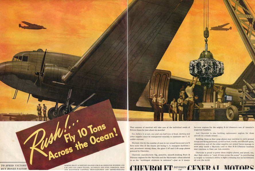 Details about 1944 Chevrolet PRINT AD Chevy Engine in C-47 and C-53 Cargo  Planes