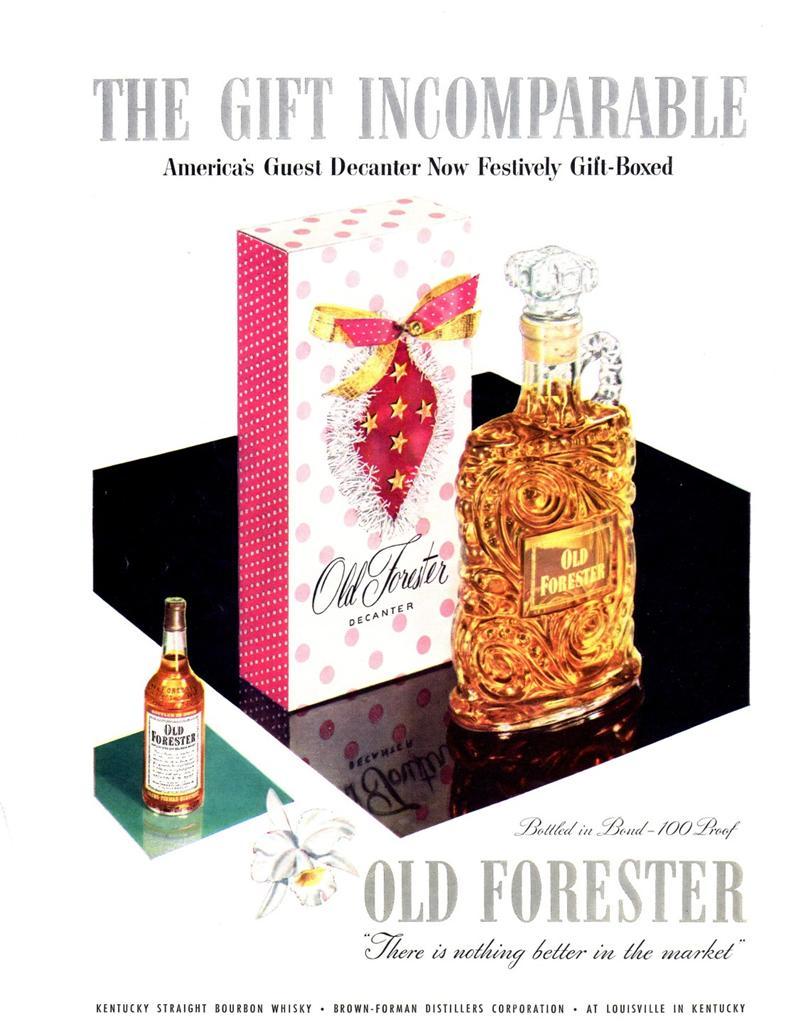 1953 Old Forester Print Ad Whisky Vintage Bottle Decanter