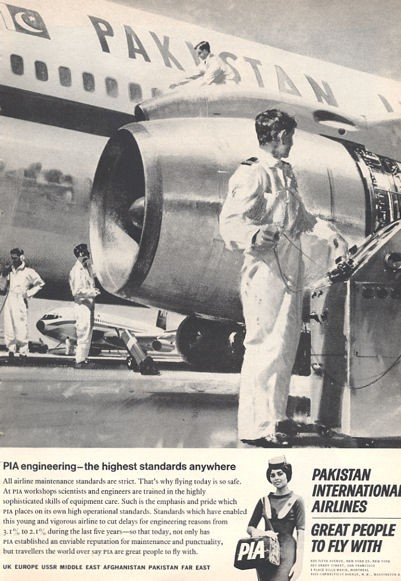 Details about 1966 Pakistan International Airlines PRINT AD PIA Maintenance Checking Engine