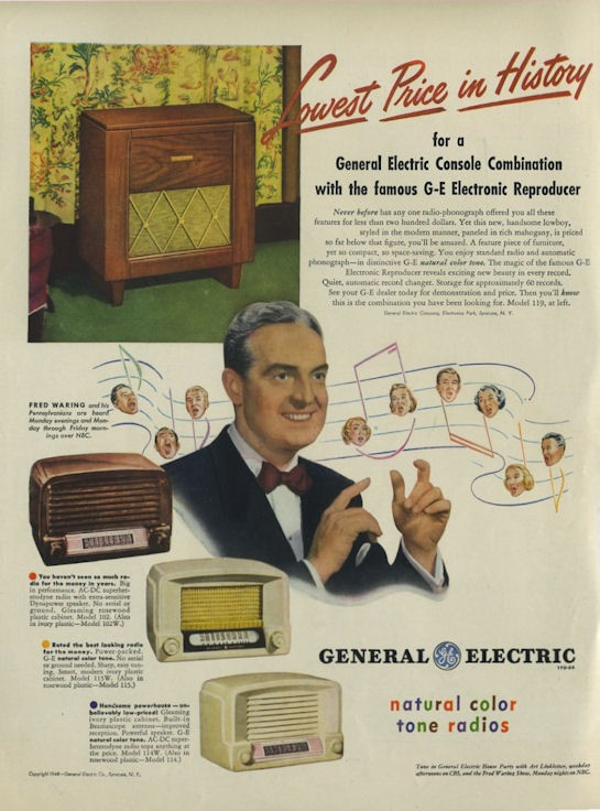 Details about 1948 General Electric PRINT AD G E  Vintage radio models  102W, 115, 114 & 119