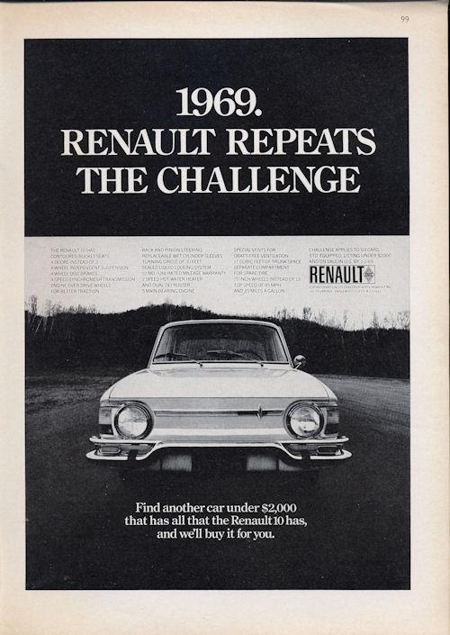 1969 RENAULT 10 Vintage Original Print AD White car photo Service outre-mer