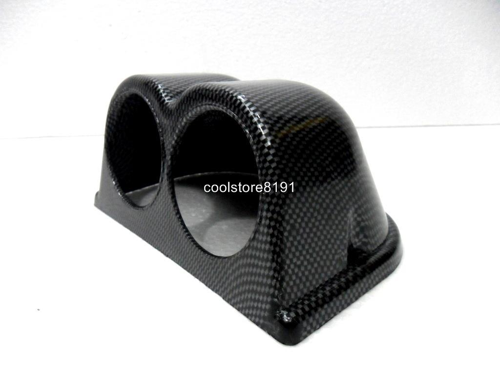 New Car Carbon Fiber Look Dash 2 Hole Double Gauge Meter
