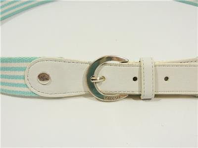 7a81ad501fed97 LACOSTE White BLUE Striped CANVAS   LEATHER BELT Silver Buckle WOMEN S  LARGE L