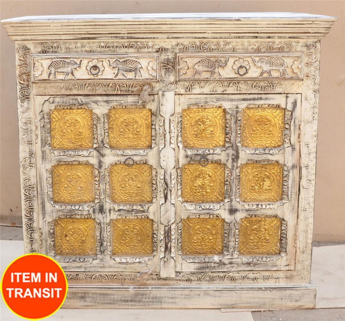 White Brass Door Antique Indian Buffet Sideboard 1m Timber