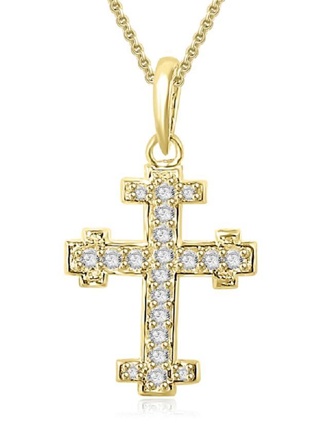 Cross-Pendant-Necklace-0-45-Carat-Natural-Diamond-I1-G-White-Yellow-Rose-Gold