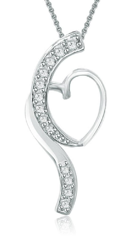 Heart-Pendant-Necklace-0-20-Ct-Genuine-Diamond-14K-Solid-White-Gold-0-80-Inch