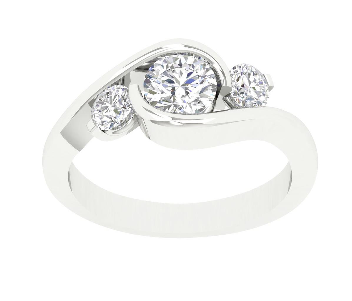 Excellent SI1/G Natural 1.00Ct Diamond 3 Stone Engagement