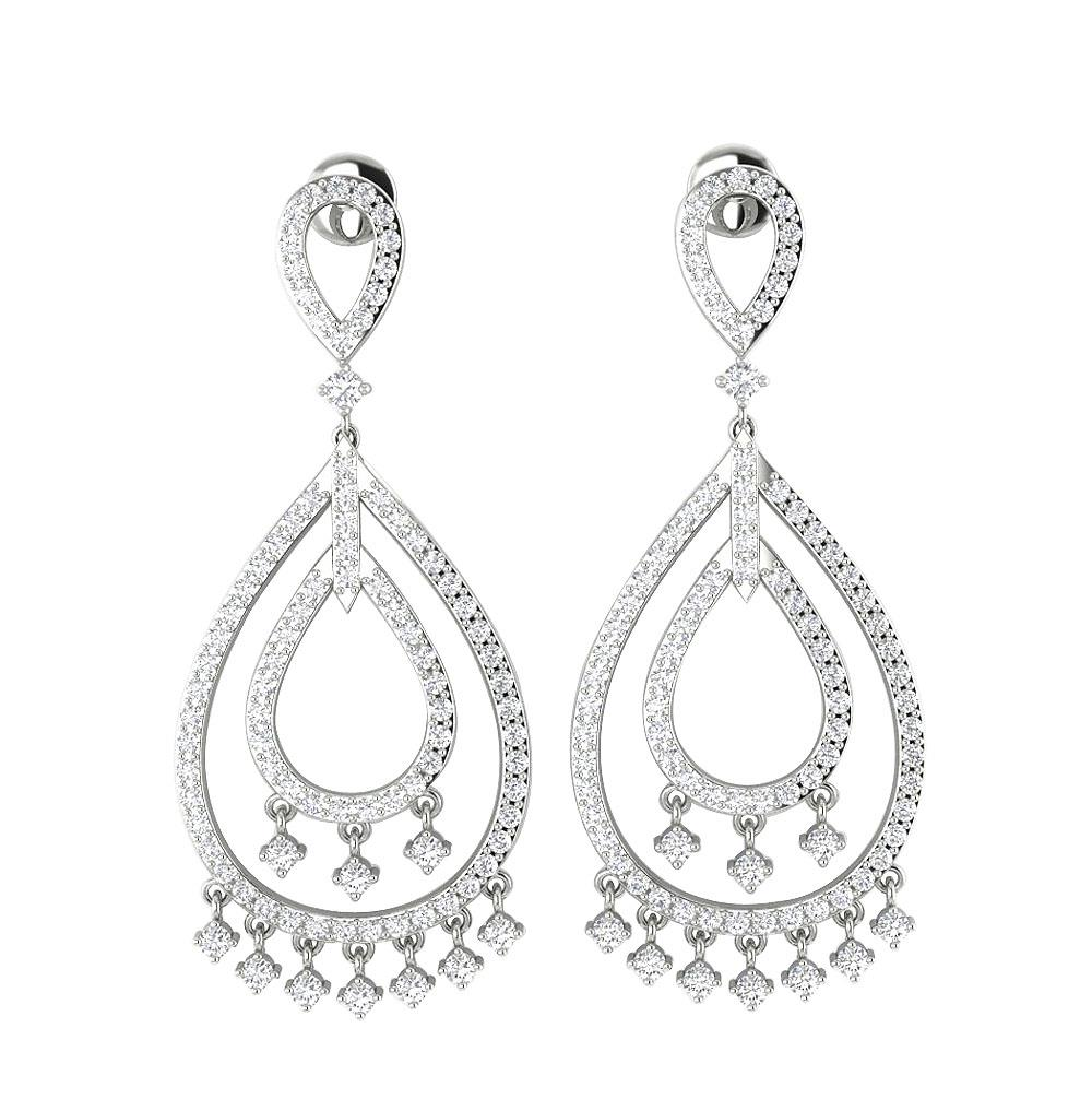 dangle chandelier earring si1 g 1 75 ct natural diamond 14k white Diamond Studs dangle chandelier earring si1 g 1 75 ct