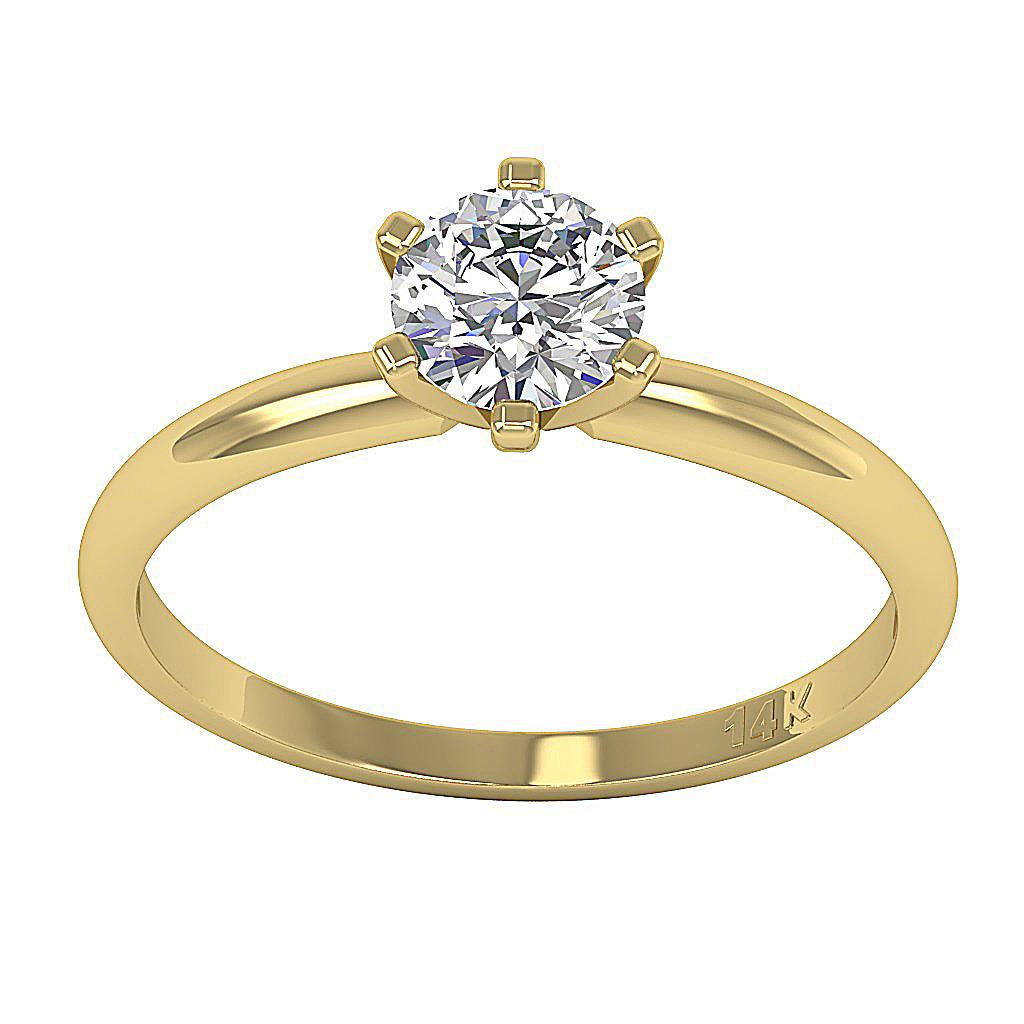 0.50 Ct Round Cut Diamond Yellow Gold Solitaire Engagement ...