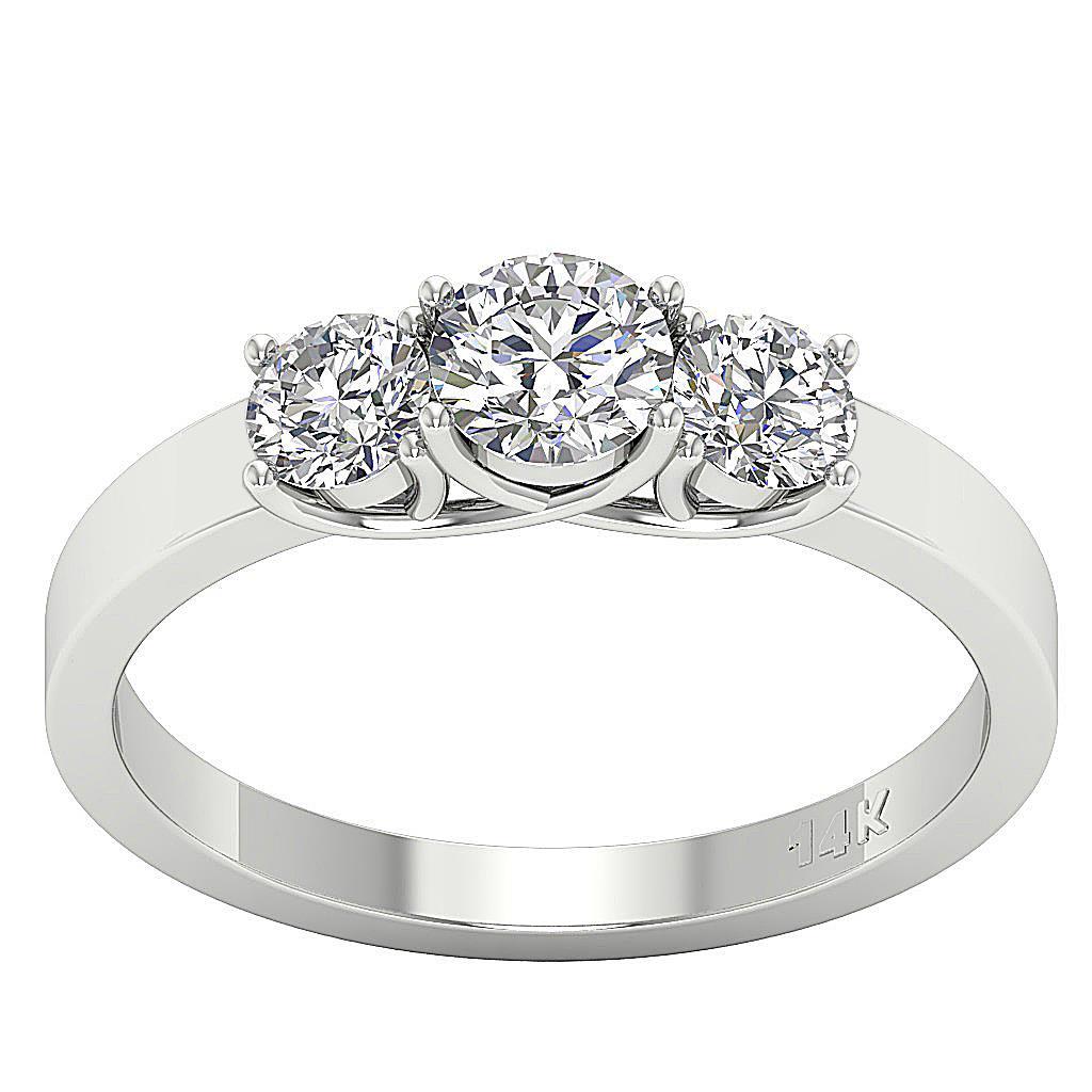 Three Stone Engagement Ring 1.01Ct Natural Diamond 14Kt