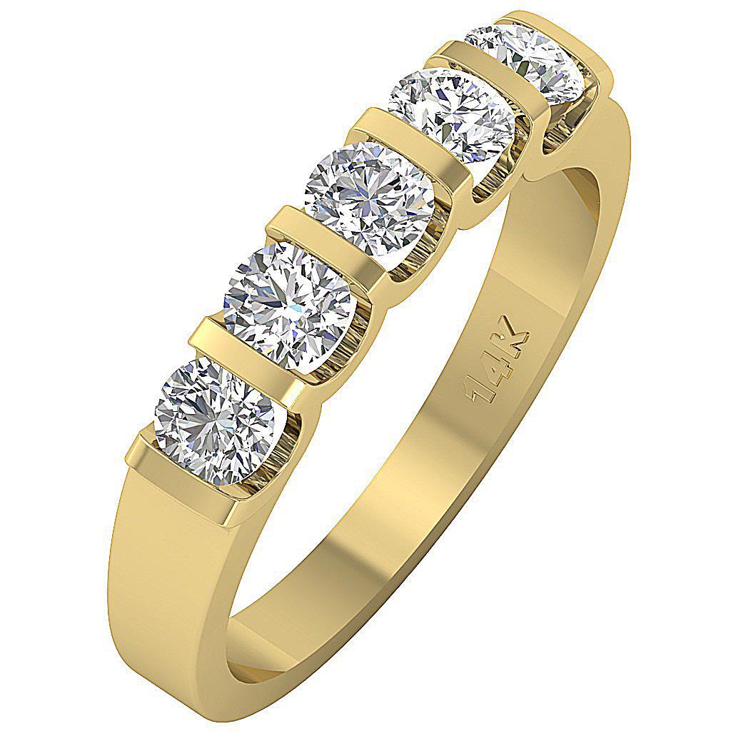 1.01Ct SI1/G Natural Diamond 14K Gold Five Stone