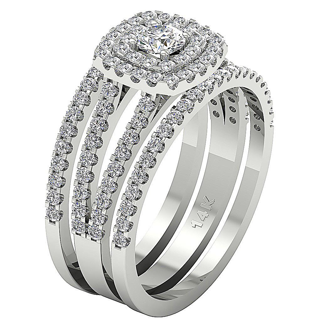 Multiple Bridal 3 Wedding Ring I1 H 1.80Ct Real Diamond