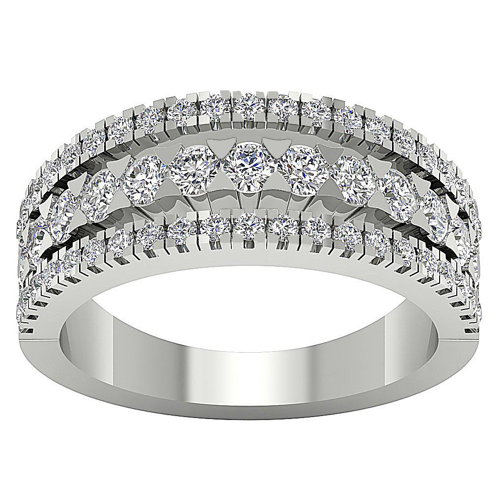 1.41ct Two Row Solid 14K White Gold Prong Set Bridal Wedding Band