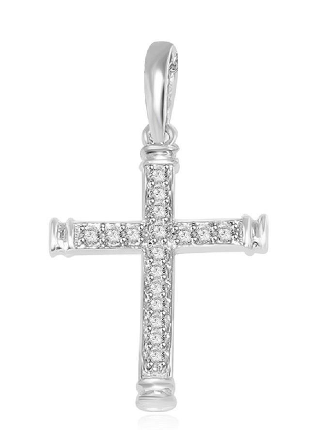 SI1-G-1-4-Ct-Round-Diamond-Cross-Pendant-Necklace-14K-Gold-Appraisal-Prong-Set