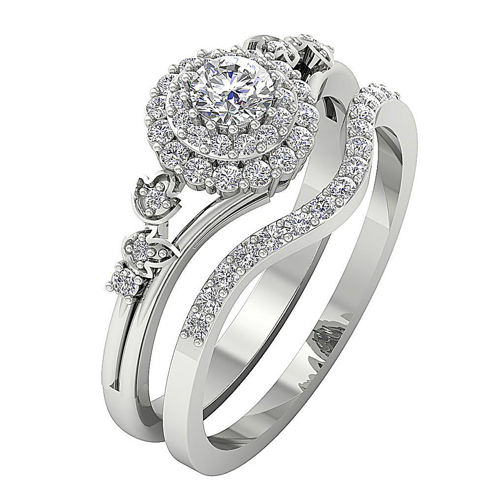 wedding band ring bridal halo wedding ring band si1 h 0 75ct 8421